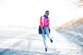skinny hipster blogger coat neon jumper