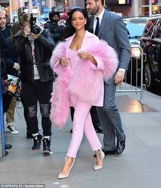 pants pink rihanna rihanna style baby pink jacket top rihanna clothes pink pants fur pink top pink blazer pink blouse all pink everything
