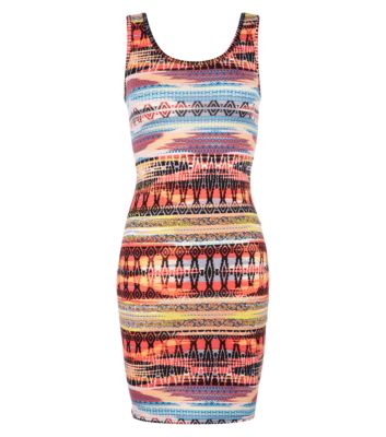 Orange and Yellow Aztec Mini Vest Dress