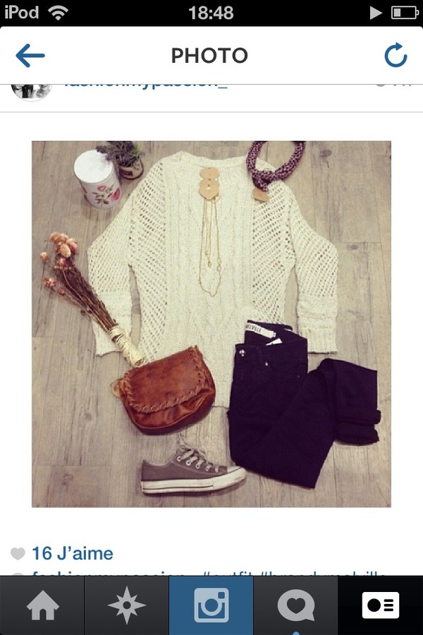 sweater white jeans shoes bag