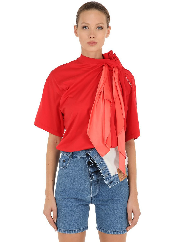 Y PROJECT Cotton Jersey T-shirt W/ Scarf in red
