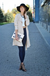 yuliasi,blogger,top,jeans,jewels,felt hat,quote on it,lace up,heels,shoes,hat,bag,coat