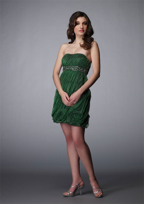 Strapless Short Green Organza Sheath Column Homecoming Dress Oap0019