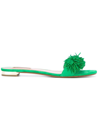 women sandals leather suede green shoes