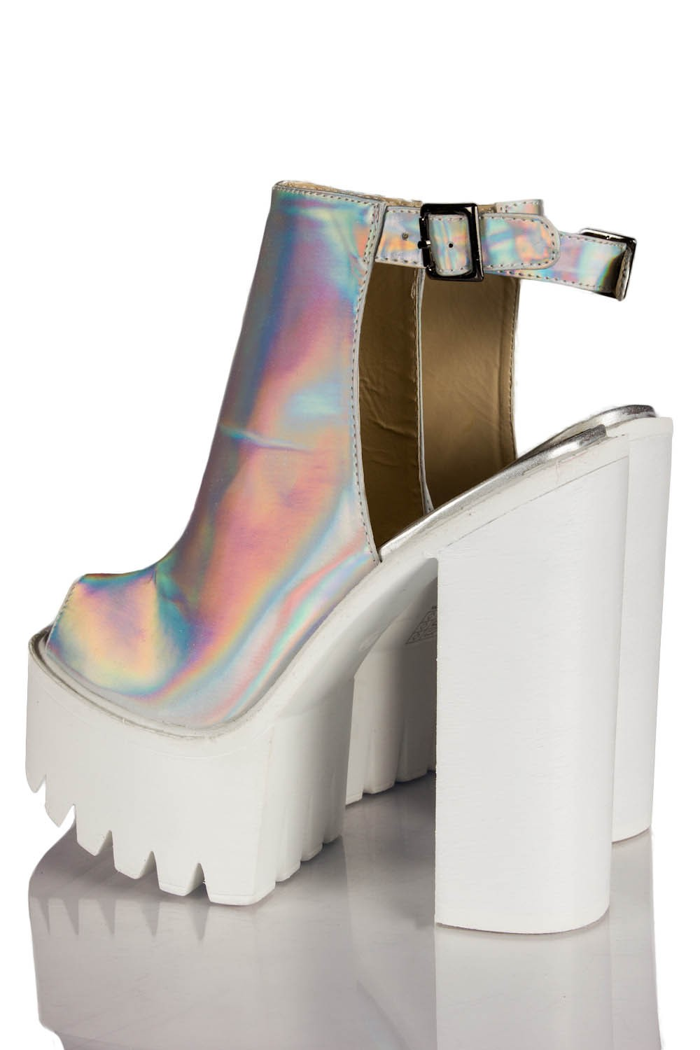 b852127d38c8 Mollie Ankle Strap Peep Toe Chunky Platform Boots In Holographic
