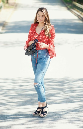 gumboot glam blogger top shoes sunglasses jewels bag red top chanel bag wedge sandals spring outfits