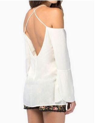 white blouse blouse white top www.ustrendy.com half sleeves spaghetti straps crisscross back strap back top