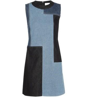 dress shift dress denim patchwork blue
