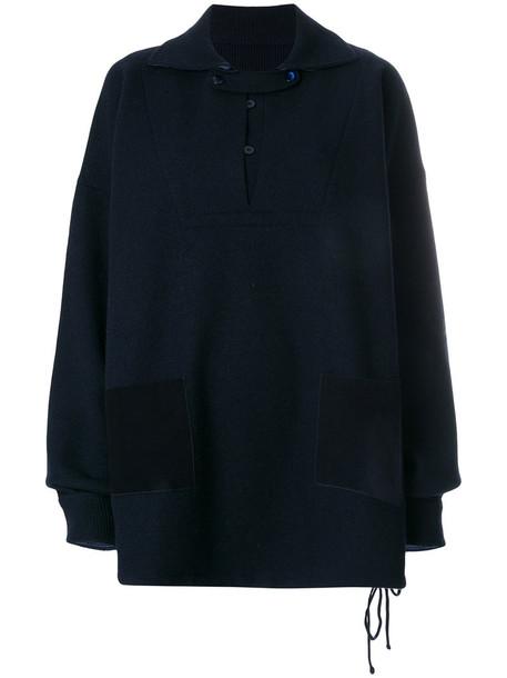 Maison Margiela - heavyweight knitted pullover - women - Viscose/Wool - XS, Blue, Viscose/Wool