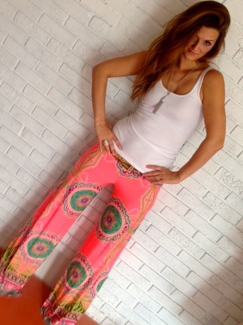 Heavenly coral medallion palazzo pants – barefoot gypsy boutique
