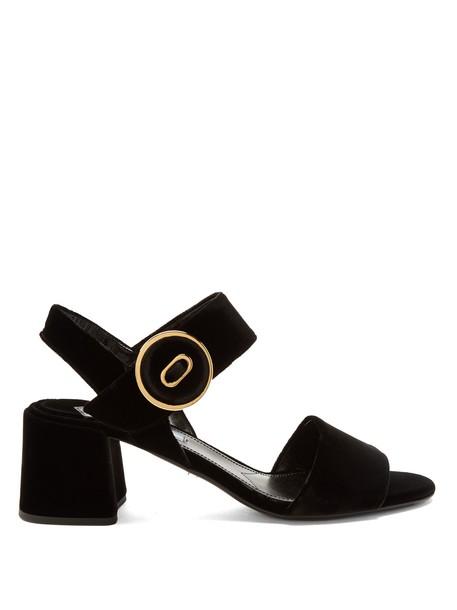 Prada velvet sandals sandals velvet black shoes