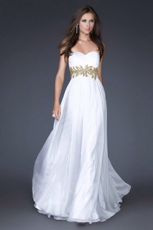 Gold Stones Floor Length Chiffon Fashionable Evening Gowns Long ...