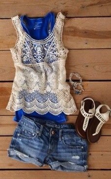 shorts shirt top blue lace white lace top tank top blouse lace top crochet royal blue jeans shoes sandles summer outfits summer summer top white white top style