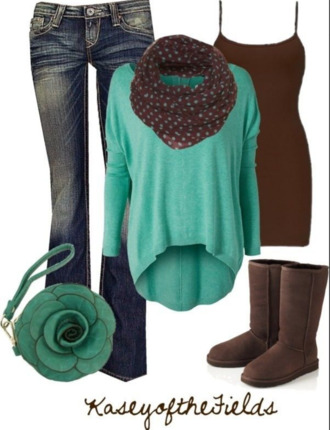 shirt infinity scarf polka dots blue brown jeans tank top sweater sweater weather boots cardigan shoes bag pants