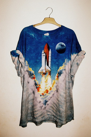 t-shirt space moon rocket smoke girls cool oversized top blue tumblr girl amazing is this from nasa boys shirts shirt tee spaceship launch sky planet clouds men unisex astronaut universe science black and white rocketship cute love