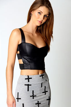 Anya Wet Look Strappy Side Crop Top at boohoo.com