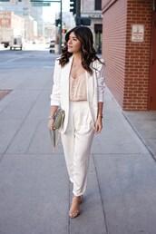 chictalk,blogger,pants,jacket,top,tank top,suit,white suit,white blazer,white pants,sandals