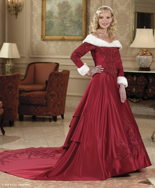 dress, wedding dress, winter wedding dress, long sleeves, red ...