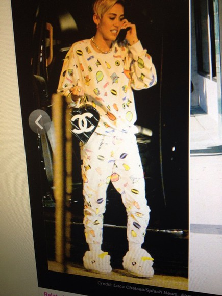 pjs pajamas miley cyrus long sleeve sweatpants crew neck bag shoes