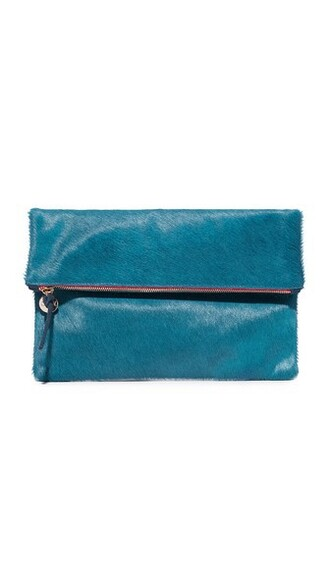 clutch blue red bag