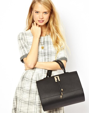 ASOS | ASOS Bowler Bag With Strap And Plate Detail at ASOS