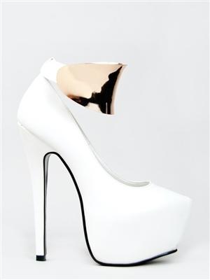 Goddess White Gold Plated Platform Heels