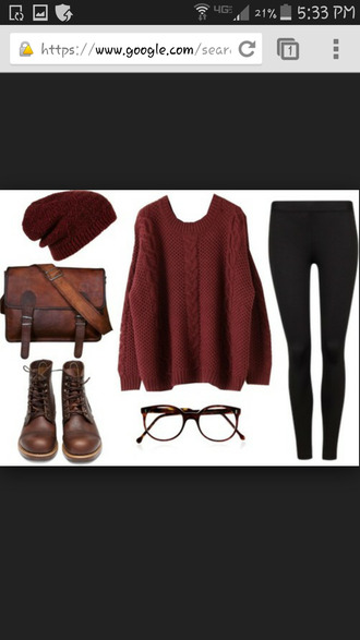 colorful maroon/burgundy clothes boots winter sweater winterwear weareautum like followers tips? ootd lovely love this outfit sunglasses bag