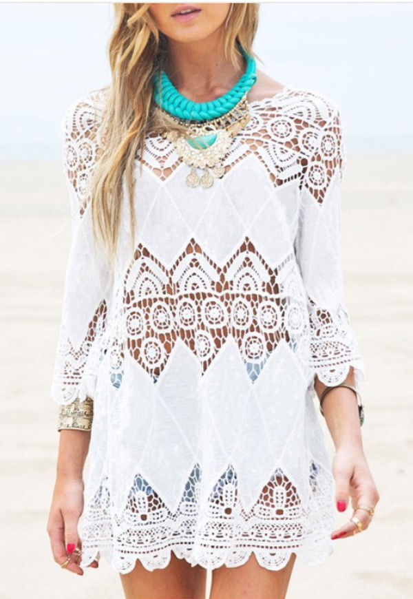 dress beach beach dress blouse girl girly girly wishlist lace white cover up white lace dress