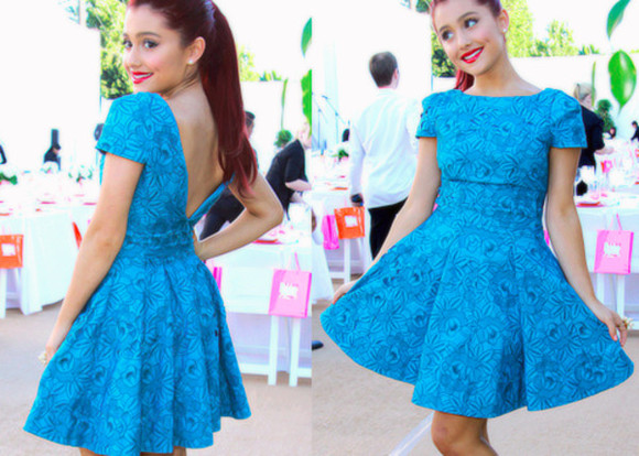 aqua blue dress ariana grande blue