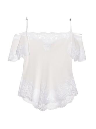 top lace silk white