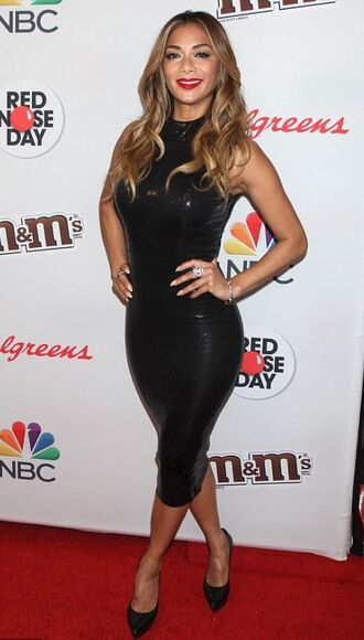 dress midi dress bodycon nicole scherzinger pumps black dress latex vinyl