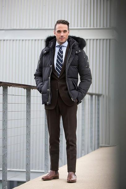 he spoke style blogger winter outfits down jacket mens coat winter coat mens suit coat shirt jewels belt shoes