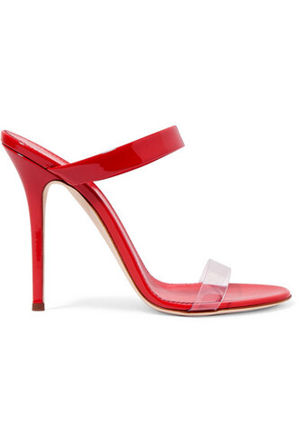 sandals leather red shoes