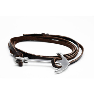 brown anchor leather bracelets jewels