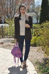 closetfashionista,blogger,tank top,sweater,jeans,shoes,bag,spring outfits,cardigan,handbag,purple bag,turtleneck sweater