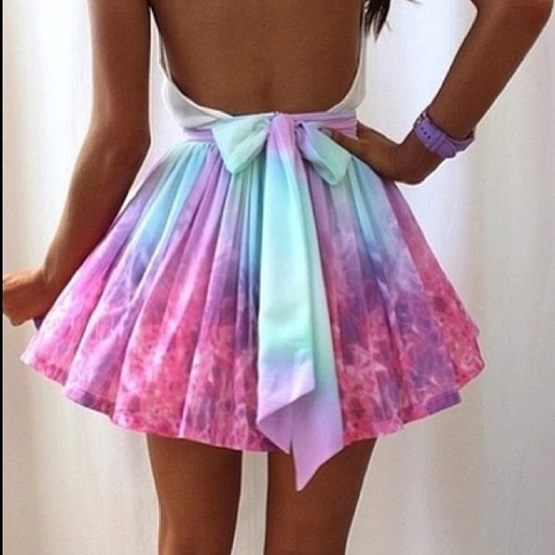 Dress: skater dress, tie dye, bows, pink, colour, open back, open back dresses, full skirt, skirt, skater skirt, high waisted skirt, tie
