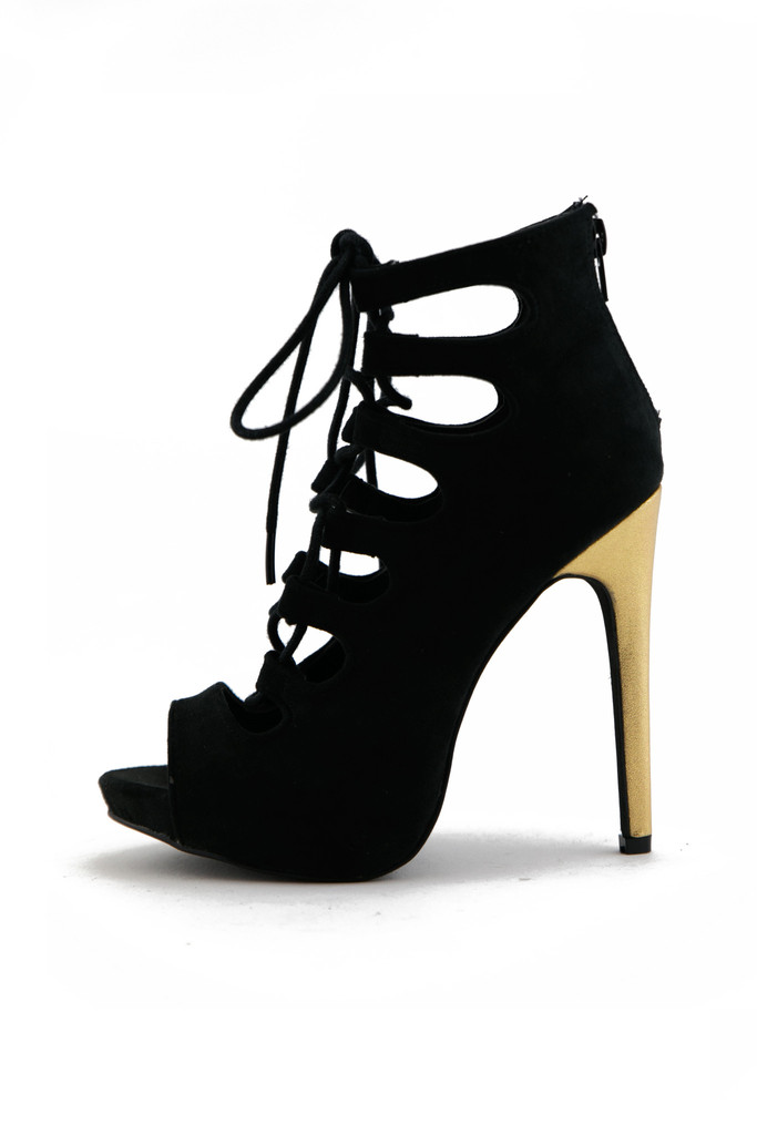 VICTOR CUTOUT LACE-UP BOOTIE HEEL | Haute & Rebellious