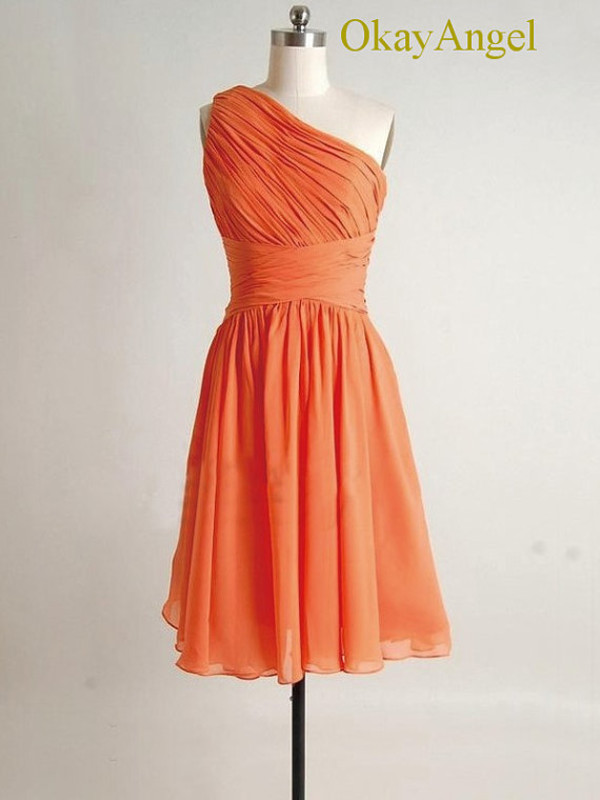 orange bridesmaid dress orange dress chiffon dress short party dresses