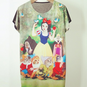 shirt cats disney snow ehite dress top cute cat top snow white