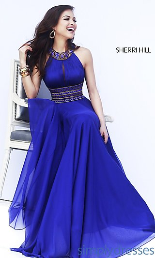 Dress, Long High Neck Halter Formal Gown - Simply Dresses