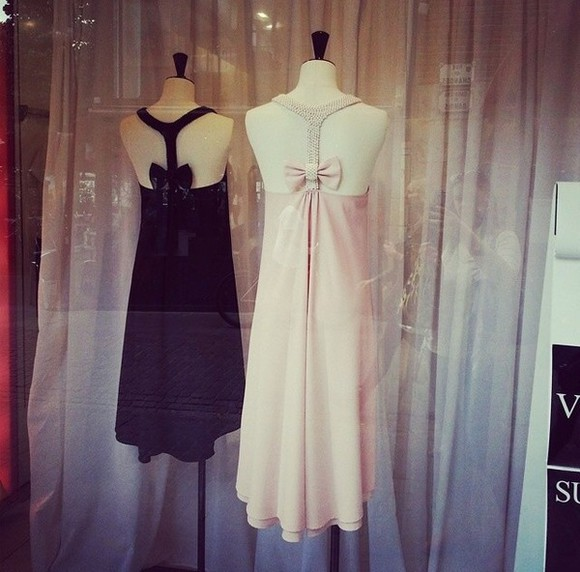 black bows dress prom dress black dresses pink dress light pink beaded dress beads