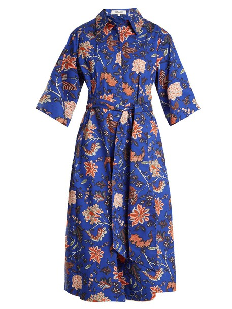 dress cotton print blue