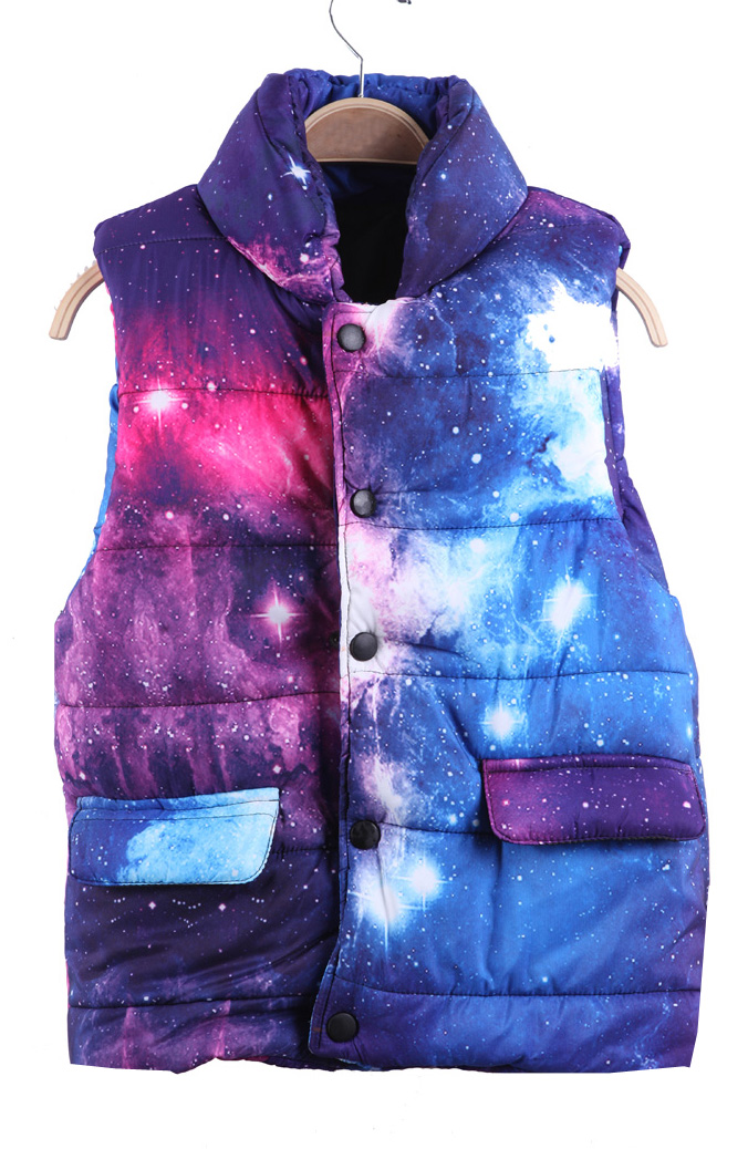 Blue and Pink Galaxy Print Band Collar Puffer Vest - Sheinside.com