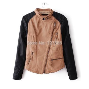 Europe unisex black brown patchwork soft leather jacket women motorcycle leather women coat jacket jaqueta de couro feminina