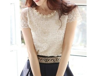 pearl blouse top summer top lace top