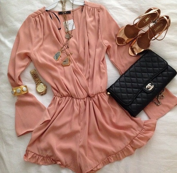 dress romper jumpsuit short overalls silk