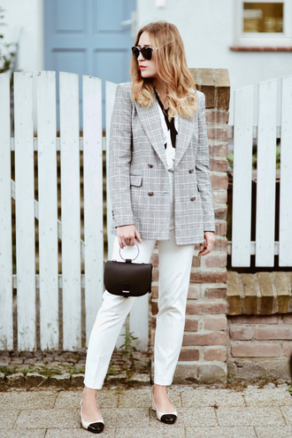 pants sunglasses tumblr white pants blazer grey blazer bag black bag handbag shoes flats work outfits jacket