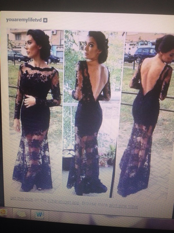 dress black lace dress kim kardashian mermaid prom dress