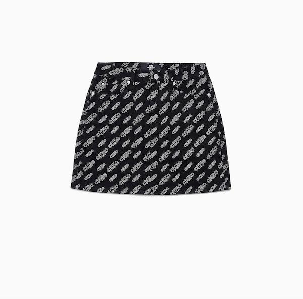 CK50 Black All-Over Print High-Rise Mini Skirt