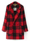 Classic red & black plaid two buttons fleece lining thick wool coat